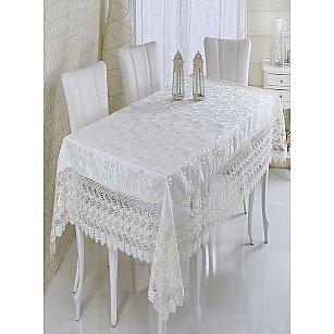 Скатерть жаккард Verolli Zarafet, белая, 160*220 см