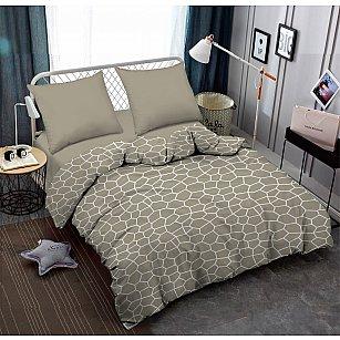 КПБ поплин combo Crump с простыней на резинке (2 спальный)