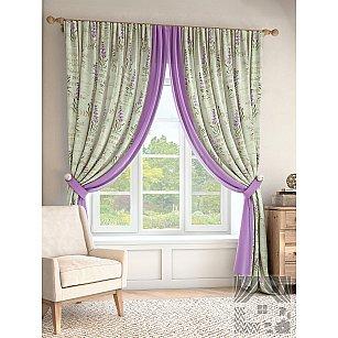 """Комплект штор """"Балис"""", мятный, фиолетовый, 280 см"""
