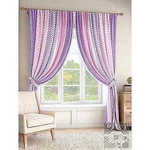 """Комплект штор """"Пангура"""", сиреневый, розовый, 280 см"""