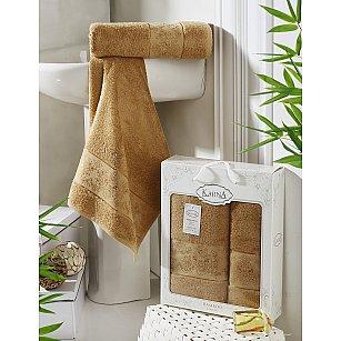 """Комплект полотенец бамбук """"KARNA PANDORA"""" (50*90; 70*140), горчичный"""