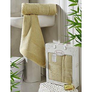 """Комплект полотенец бамбук """"KARNA PANDORA"""" (50*90; 70*140), золотистый"""