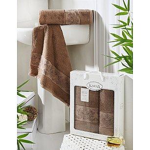 """Комплект полотенец бамбук """"KARNA PANDORA"""" (50*90; 70*140), коричневый"""