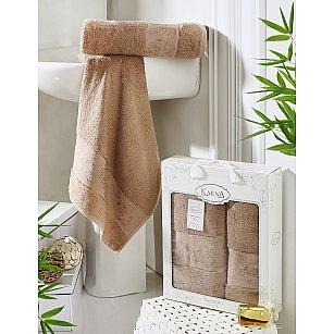 """Комплект полотенец бамбук """"KARNA PANDORA"""" (50*90; 70*140), капучино"""