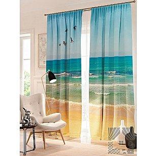 Фотошторы Пейзаж пляжа, голубой, песочный, 260 см