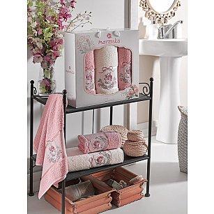 Комплект махровых полотенец MERZUKA ROSE (50*80*2; 70*130), брусничный