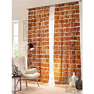 Фотошторы Кирпичный фон, оранжевый, 260 см