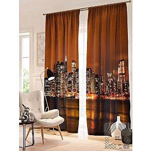 Фотошторы Ночной Нью-Йорк, коричневый, золотой, 260 см