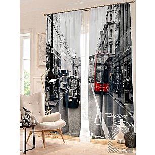 Фотошторы Риджент-Стрит, серый, красный, 260 см