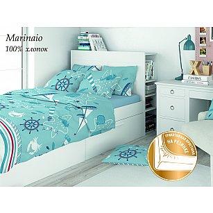 КПБ поплин детский Eco cotton combo Marinaio с трикотажной простыней (1.5 спальный)