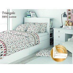 КПБ поплин детский Eco cotton combo Il triangolo с трикотажной простыней (1.5 спальный)