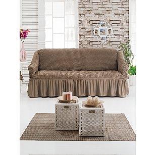 """Чехол для дивана """"DO&CO"""" трехместный, серо-коричневый"""