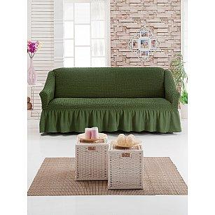 """Чехол для дивана """"DO&CO"""" трехместный, оливковый"""