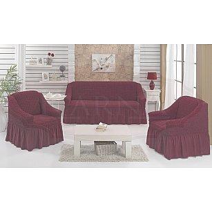 """Набор чехлов для дивана и кресел """"BULSAN"""" 3+1+1, бордовый"""
