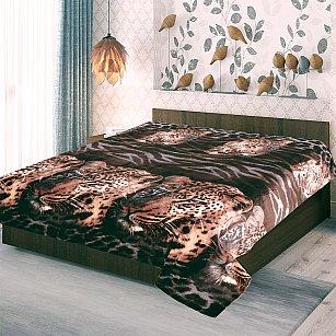 "Плед фланель Absolute печатный ""Морды леопарда 3D"", коричневый, 150*200 см"