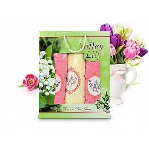Комплект полотенец Valley Lily (50*90 - 2 шт; 70*140 - 1 шт), Желтый, Розовый