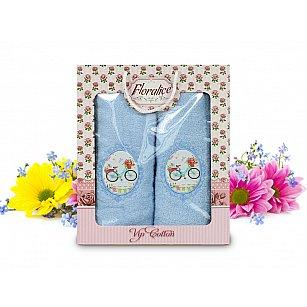 Комплект полотенец Floralice (50*90 - 1 шт; 70*140 - 1 шт), Голубой