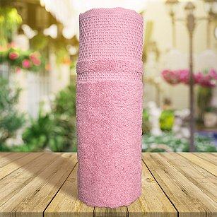 Полотенце однотонное с жаккардом Vafl, розовый