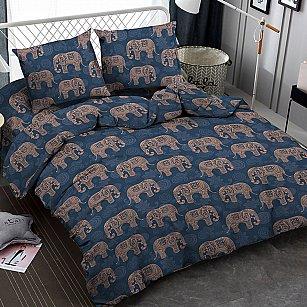 КПБ мако-сатин Elephants, синий, бежевый