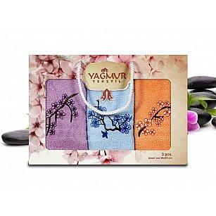 Набор кухонных махровых полотенец Yagmur Сакура 01, 30*50 см - 3 шт
