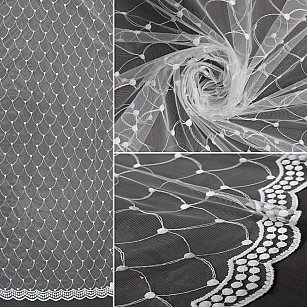 Тюль вышивка эконом RR 9147-w, белый, 300*270 см