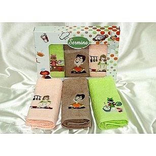 Набор кухонных полотенец Sermina 30*50 см - 3 шт, салатовый, розовый, бежевый