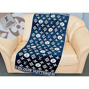 Банное велюровое полотенце Cestope LV жаккард, 70*140 см, синий
