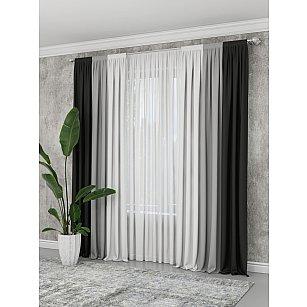 Комплект штор №027, графит, серый, светло-серый