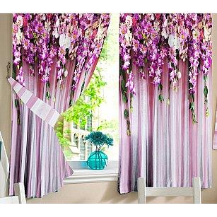 Фотошторы для кухни Ламбрекен из цветов