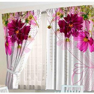 Фотошторы для кухни Цветочная вуаль
