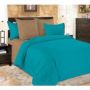 КПБ мако-сатин однотонный Turquoise, коричневый