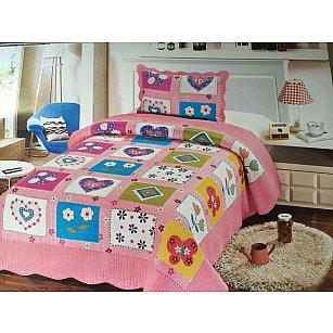 Покрывало Танго PATCHWORK детский midi, розовый, голубой, 180*220 см