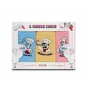 Комплект кухонных полотенец Nilteks Dia Bella Italiano дизайн 10, 50*70 см - 3 шт