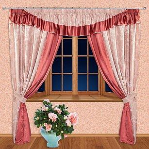 Комплект штор №55510, розовый