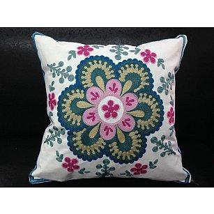"""Наволочка """"Bombay"""", белый, розовый, зеленый, 45*45 см-A"""