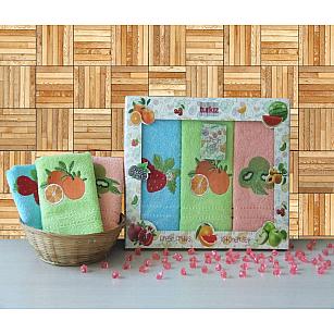 Набор кухонных полотенец Turkiz FRESH FRUITS в коробке, 30*50 см - 3 шт, голубой, салатовый, розовый