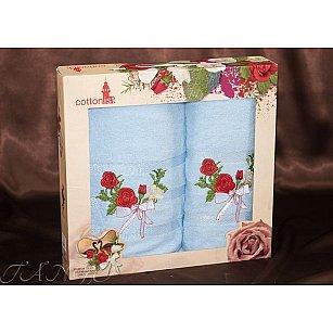 Комплект полотенец Cottonist Kurdele (Розе) в коробке (50*90; 70*140), голубой