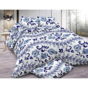 КПБ мако-сатин Amore Mio Naples (1.5 спальный), синий, белый