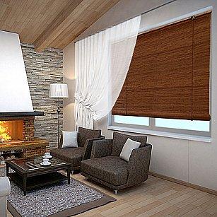 """Бамбуковая рулонная штора """"Нагоя"""", коричневый, 140 см-A"""
