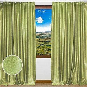 Комплект штор однотонный софт Amore Mio RR 42002-50, зеленый, 200*270 см