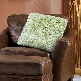 Наволочка декоративная Chinchilla Длинный ворс, зеленый, 48*48 см