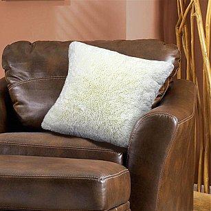 Наволочка декоративная Chinchilla Длинный ворс, молочный, 48*48 см