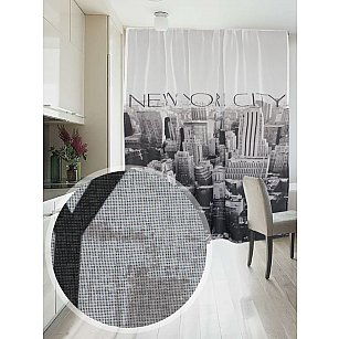 Фотошторы печать лен Amore Mi RR 391, черный, белый, 145*270 см