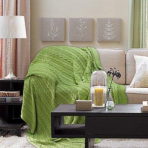 Плед Buenas Noches Cotton Braid, зеленый, 180*210 см