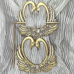 Подхват-заколка MI C8-2 lebedi, золото