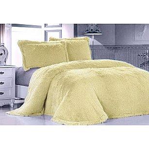 Покрывало меховое Лама желтая, 240*260 см-A