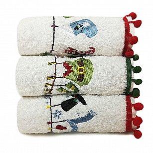Комплект махровых полотенец Arya Рождество Serene, 30*50 см - 3 шт