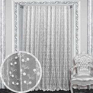 Тюль с вышивкой RR FB 80165-w, белый, 300*270 см