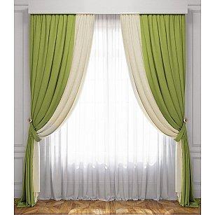 Комплект штор Латур, сливочный, зеленый