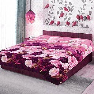 """Плед фланель Absolute печатный """"Розы на фиолетовом"""", фиолетовый"""